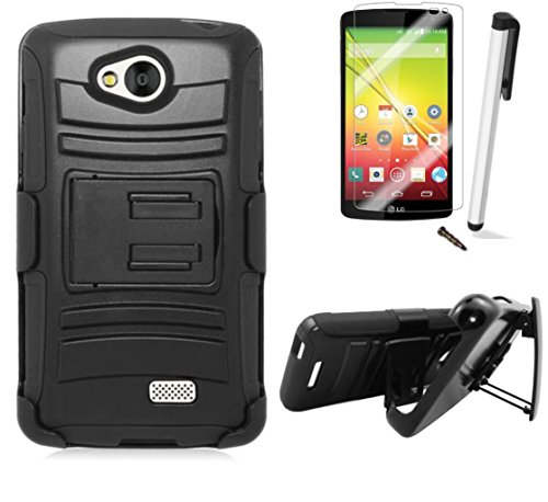 For LG Tribute LS660 / LG Optimus F60 (Virgin Mobile) Symbiosis Advanced Armor Impact Hybrid Soft Silicone Cover Hard Snap On Plastic Case Kick Stand with Belt Clip Holster + [WORLD ACC®] Brand LCD Screen Protector + Silver Stylus Pen + Black Dust Cap Free Gift (Advanced Stand With Holster Black / Black)