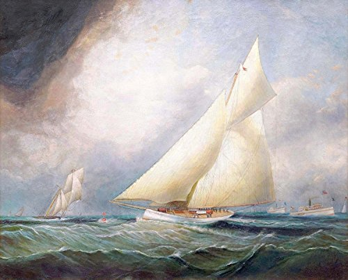 Giclee Canvas Prints (32 x 26 Inch): 'Puritan' Leading 'Genesta', America's Cup, 1885 - By James E. Buttersworth (gc-14231-3226)