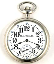 Dueber Swiss Mechanical Pocket Watch, High Polish Chrome Open Face Case, Assembled in USA!