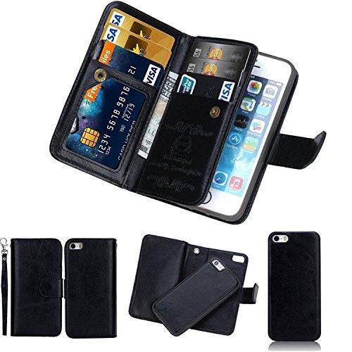 Custodia a portafoglio con porta carte di credito, nero, For iPhone 6/6s