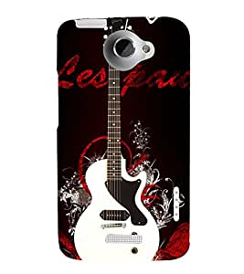 White Electronics Guitar 3D Hard Polycarbonate Designer Back Case Cover for HTC One X