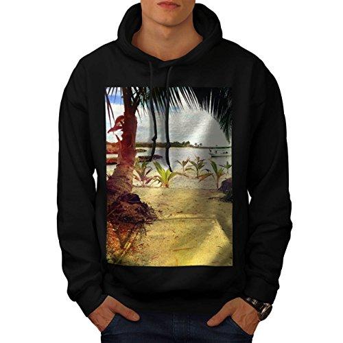 spiaggia-palma-alberi-sabbioso-uomo-nuovo-nero-l-felpa-con-cappuccio-wellcoda