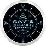 Ncpj1173-b RAY'S Billiards Room Rack 'EM Beer Bar LED Neon Sign Wall Clock