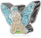 Disney Stainless Steel Tinkerbell Crystal Wing and Enamel Bead Charm