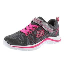 Skechers Kids Swift Kicks Running Shoe, Charchaol/Neon Pink,1 M US Little Kid