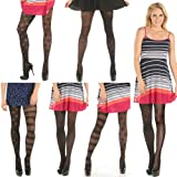 Angelina Mix-Matched Patterned Pantyhose, 6 Assorted Designs Per Pack