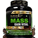 MuscleXP Mass Gainer Vital - 2Kg (4.4 Lbs), Dark Chocolate - With Whey Protein & MultiVitamins