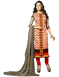 Surat Tex Multicolor Color Embroidered Chanderi Cotton Un-Stitched Dress Material