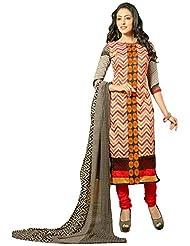 Surat Tex Multicolor Color Embroidered Chanderi Cotton Un-Stitched Dress Material