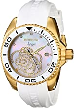 Invicta Angel Zirconia Accented Women's Quartz Watch with Mother of Pearl Dial Analogue Display and White PU Strap 0488