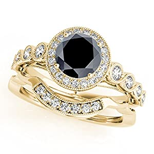 1.40 Ct. Ttw Halo Black Diamond Bridal Set In 14k Yellow Gold