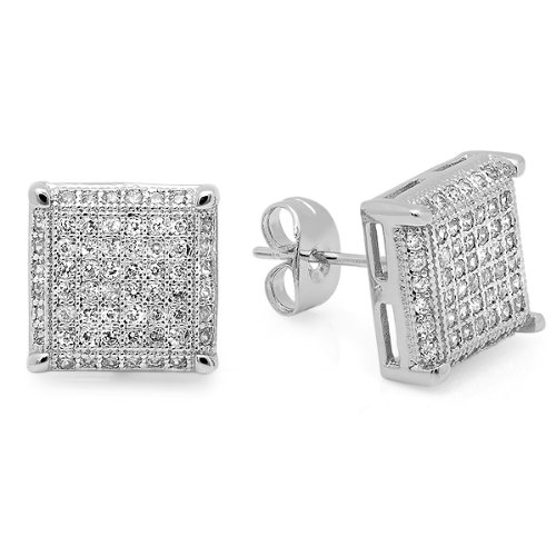 Platinum Plated With White CZ Cubic Zirconia Cube Shaped Hip Hop Mens 11 mm Iced Cube Stud Earrings