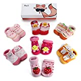 Haley Clothes Newborn Baby Anti-Slip Socks Toddler Non-Skid Socks for Kids (7 Pairs/Box Baby Girls Infant Socks Gift Set), Size S (fits for 0-6 Months)