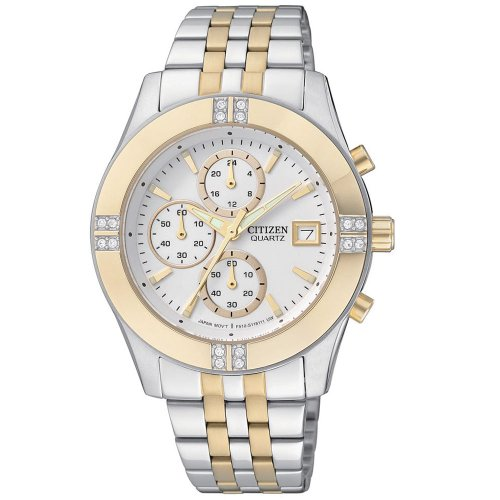 Citizen Quartz Chronograph Swarovski Crystal Bracelet Women's Watch - FA1044-51A