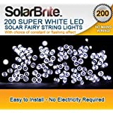 Solar Brite Deluxe Solar Fairy Lights 200 Super Bright White LED Decorative String, choice of light effect. Ideal for Trees, Gardens, Parties & More...by Solar Brite
