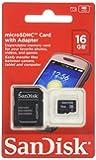 SanDisk 16 Go Carte mémoire microSDHC avec adaptateur Classe 4 SDSDQM-016G-B35A