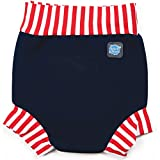 Splash About Kids Reusable Swim Nappy - THE Happy Nappy - Navy/Red/White Stripe Rib, Large, 6-14 Months