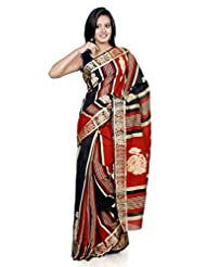 B3Fashion Handloom Traditional Matka Silk Saree In Black & Orange Stripes With Beautifully Woven Madhubani Motifs