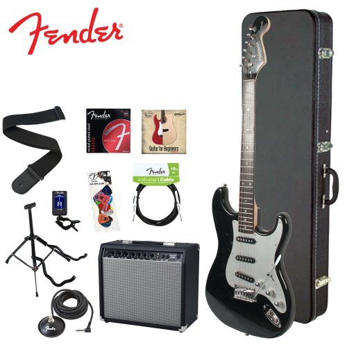 Fender Starcaster JF-028-0002-506-KIT-4 Onyx Black Electric Guitar with Stand, Strap, Strings, Case, DVD, Tuner, Picks, Cable, Footswitch and 25W Amplifier