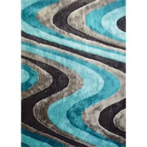 turquoise gray modern hand carved shag area rug approximately 1 inch thick hand. Black Bedroom Furniture Sets. Home Design Ideas