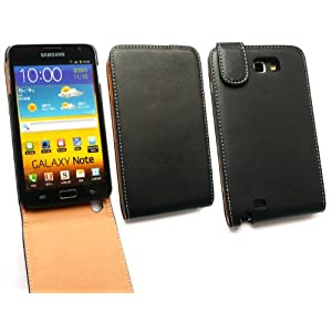 EMARTBUY SAMSUNG GALAXY NOTE N7000 LUXURY PU LEATHER FLIP CASE/COVER/POUCH BLACK / TAN
