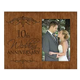 10th Wedding Anniversary Photo Frame Holds 4x6 Photo Cherry Wood by DaySpring International