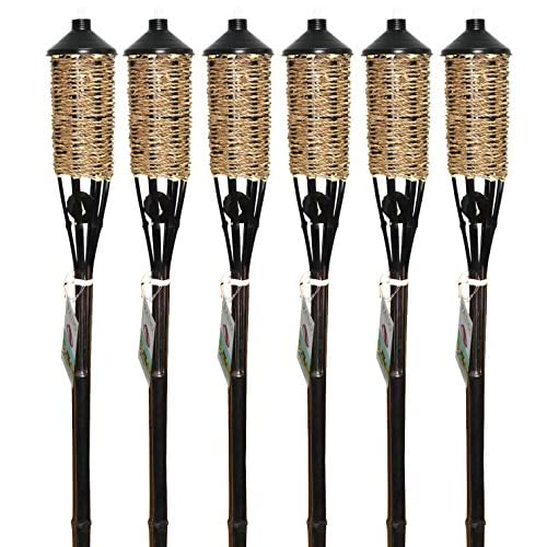 Patio Essentials Woven Rope Bamboo Torch (6 Pack)