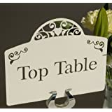 Ivory Top Table Wedding Table Name Card by Paper Baker. Vintage Heart Design. Priced Each