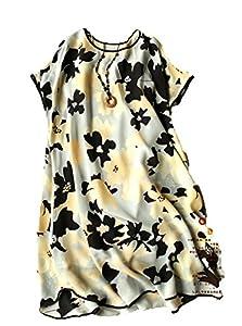 Season: Summer   Print: Floral Print   Material: Silk  Dress Silhouette: Shift  Sundress   Shoulder: Short Sleeves   Neckline: Round Neck   Embellishments: Wrap   Size Category: Adult  Hand WashLine Dry