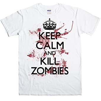 Keep Calm and Kill Zombies t shirt - S - White