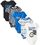 Calvin Klein Baby-Boys Newborn 5 Pack Creeper Set- Black Blue Group, Multi, 3-6 Months