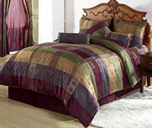 Chezmoi Collection 7 Pieces Multi Color Gitano Jacquard Patchwork Comforter Set Bed-in-a-bag King Size Bedding