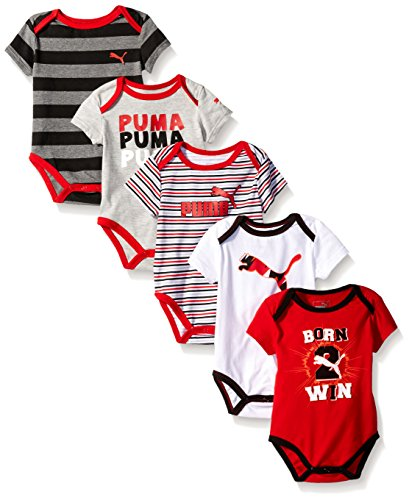 PUMA Baby Boys' 5 Pack Bodysuit Pack, Star Red, 3/6M