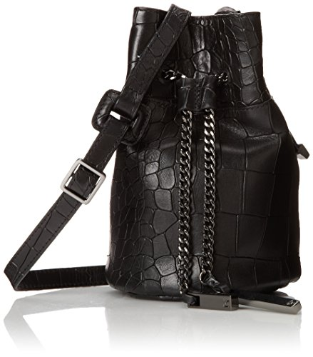 Halston Heritage Mini Bucket Cross Body Bag, Black, One Size back-413259