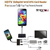 MHL Adapter, OTG Adapter, Memory Card Reader, TabPow Black 5-in-1 Micro USB HDTV MHL to HDMI Cable, OTG Camera Connection Kit [SD/TF/M2 Card reader] Supports 1080p for Samsung Galaxy S5, S4, S3, S2, Galaxy Note 4, Note 3, Note 2, Galaxy Tab