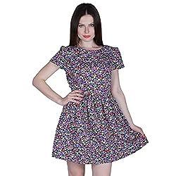 PRAKUM Women's Chiffon Regular Fit Dress Multicolor color flower (XX-Large)