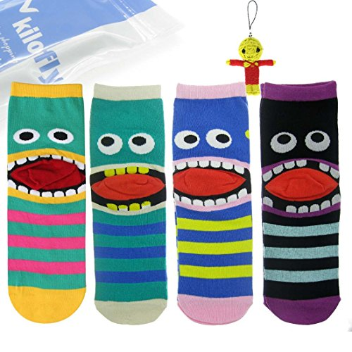 kilofly Big Mouth Monster Socks Value Pack [Set of 4 Pairs], with Voodoo Doll