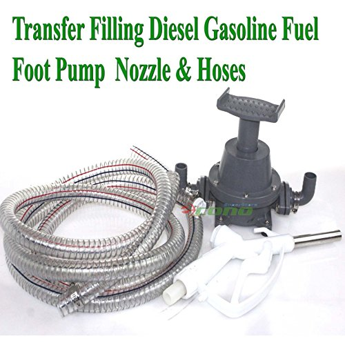 Transfer Refilling Gasoline Diesel Fuel Foot Pump Kit & Manual Nozzle With 6' Hose