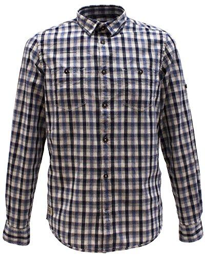 Tom Tailor camicia a maniche lunghe il tempo libero da uomo Ray Washed Indigo Check Shirt/603 Blu (Estate Blue 6845) XXL