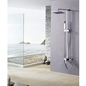 Lightinthebox Single Handle Wall Mount Rainfall Shower Faucet Set With 8 Inch