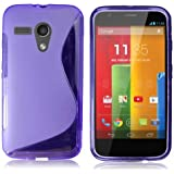 Yakamoz Flexible TPU S-line Silicone Gel Case Cover for Motorola Moto G DVX XT1032 with Free HD Screen Protector & Stylus Pen (S-line Purple)