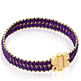 Astley Clarke Violet Berry Extra Wide Yellow Gold Vermeil, Black & Lilac Cord Bracelet