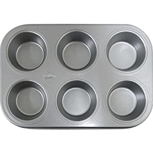 Patisse 6-Cups Nonstick Silver Top Muffin Tray, Silver Grey