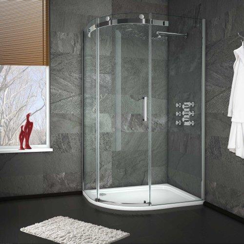 1200 x 900 mm Left Hand Offset Quadrant Easy Clean Shower Enclosure + Tray Set