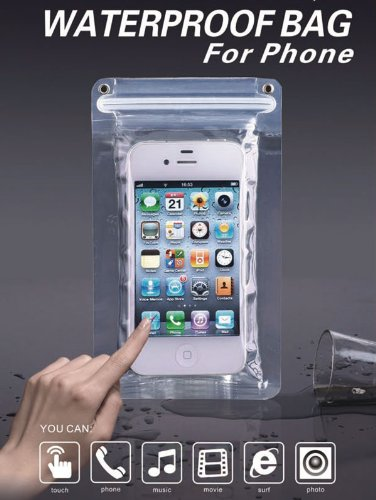 iPhone用 防水ケース(iPhone5/4S/4対応、タッチパネル操作可能、二重ジッパーでしっかり防水、国際防塵防水規格IP68準拠)