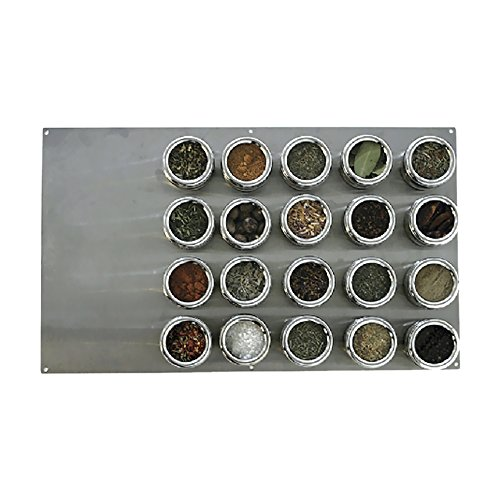 Lipper International SOHO 20-Piece Large Board Magnetic Spice Rack with Tins, Stainless Steel