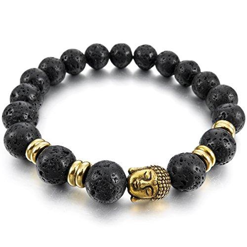 MunkiMix 10mm Larghezza Lega Bracciale Braccialetto Energia Stone Lava Rock Nero Oro Buddha Preghiera di Mala Uomo,Donna