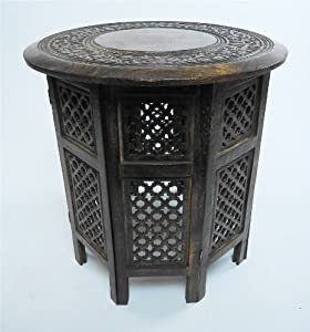 Beautiful round brown white hand carved indian shesham for 12 inch round side table