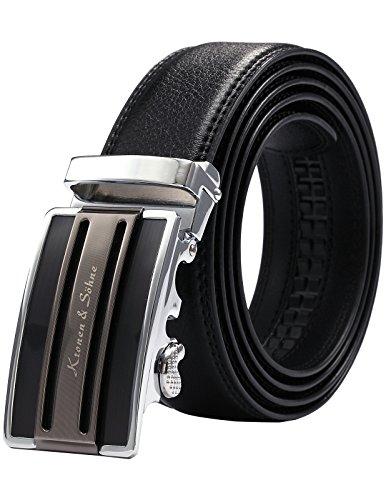 KS KB024-Cintura da Uomo,in Pelle Nero,Fibbia Automatica,Larghezza:3,5cm/Lunghezza:120cm