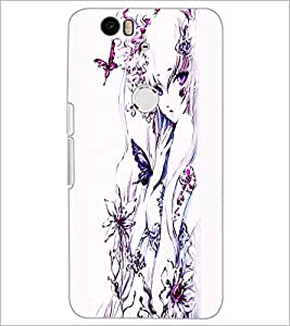 PrintDhaba Charming Girl D-2444 Back Case Cover for HUAWEI NEXUS 6P (Multi-Coloured)